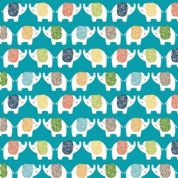 Jungle Friends - 7037 - Elephants on Turquoise Background  - 2198_B - Cotton Fabric